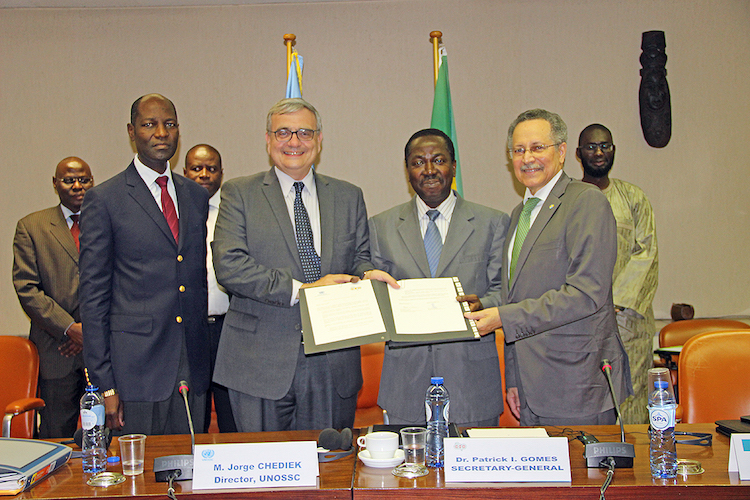 Photo: Signing ceremony for exchange of letters between UNOSSC and ACP Secretariat. Credit: ACP