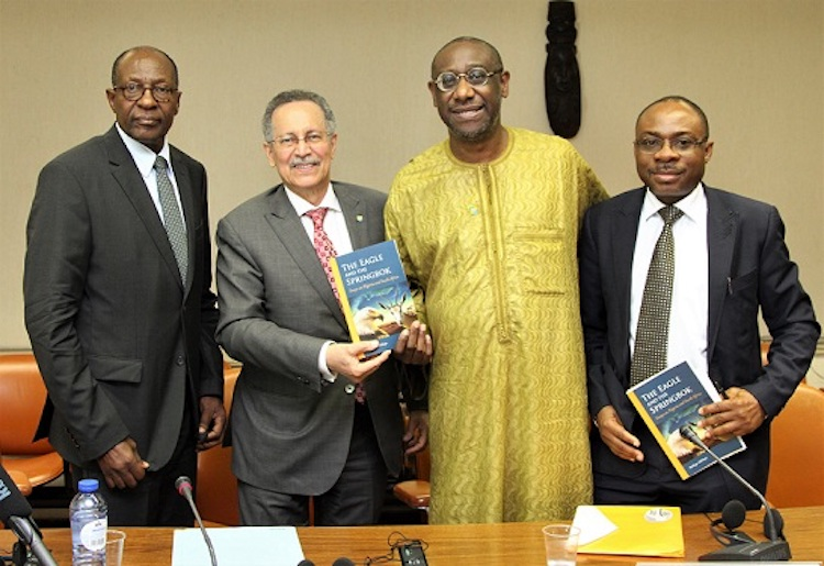 Photo (from left to right): Dr. Kaire Mbuende, Ambassador of Namibia, Dr. Patrick I. Gomes, ACP Secretary General, Prof. Mr. Adekeye Adebajo, the author, and Mr. Maxy Ogbede Minister-Counsellor, Embassy of Nigeria. Credit: ACP Press.
