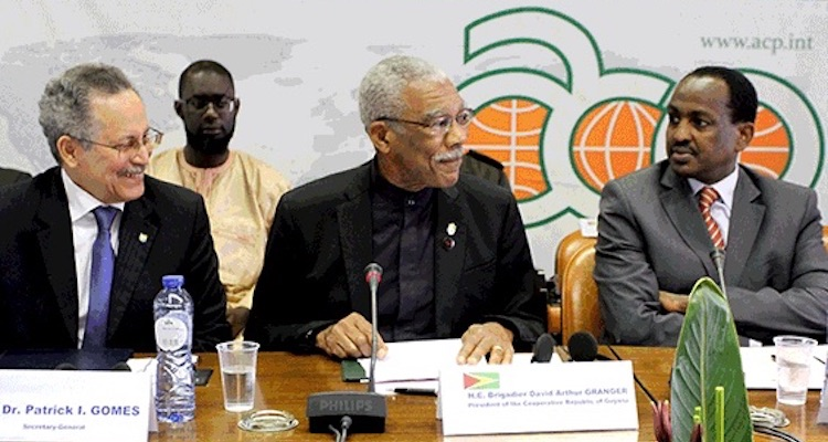 Photo (left to right): ACP Secretary-General P. I. Gomes; President of Guyana, Brigadier David A. Granger addressing the ACP Committee of Ambassadors; and Ethiopian Ambassador Teshome Toga Chanaka, Chair of the ACP Committee of Ambassadors for the period 1 February 2017 - 31 July 2017.
