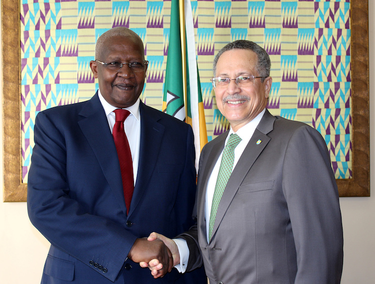 Photo: President of the 69th Session of the UN General Assembly & Foreign Minister of Uganda, Samuel Kutesa, with ACP Secretary-General Dr Patrick Gomes, in Brussels. Credit: ACPPhoto: 2014-2015 President of the UN General Assembly & Foreign Minister of Uganda, Samuel Kutesa, with meets ACP Secretary-General Dr Patrick Gomes. Credit: ACP