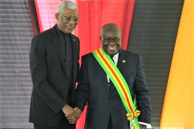 Photo: President David A. Granger (left) with President Nana Akufo-Addo Of Ghana. Credit: acp.int