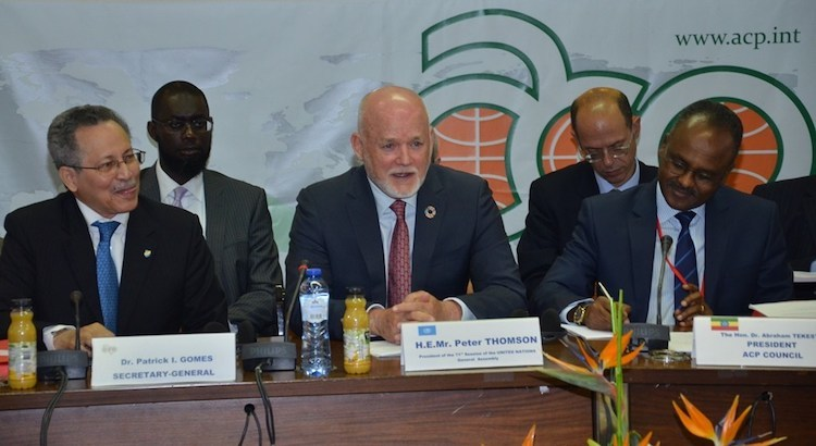 Photo (left to right): ACP Secretary-General Dr Patrick I Gomes, UNGA President Peter Thomson, Council of Ministers President, Ethiopia's Minister of Finance and Economic Cooperation, Dr Abraham Tekeste. UNGA President addressing ACP Council of Ministers on May 3 in Brussels. Credit: UN.